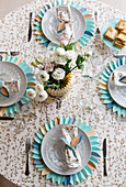 Table set with decorative paper placemats