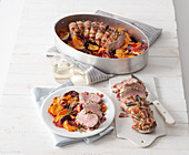 Oven roasted pork tenderloin with sweet potatoes and beetroot