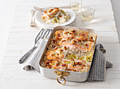 Salmon rice casserole with leek and bacon
