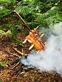 Lachs auf Spiess am Lagerfeuer im Wald
