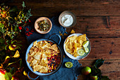 Mexican bean and tortilla pot