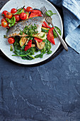 Sea bass with lemon and caper dressing