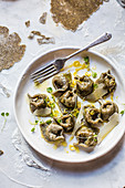 Hemp seed tortellini with lemony spinach and ricotta