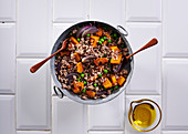 Warm vegetable and bulgur wheat salad