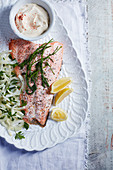 Dill roast salmon with fennel and aioli