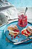 Strawberry prosecco jam with scones