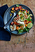 Vegeterian tex mex salad with halloumi