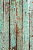 A wooden turquoise surface