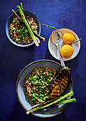Wild rice and lentil risotto with braaied aubergine