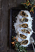 Roasted oysters with sage browned butter