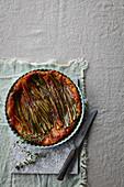 Caramel, leek and thyme tarte tatin
