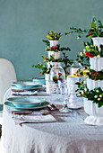 Table festively set with Christmas decorations