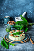 Wild garlic savory cheesecake