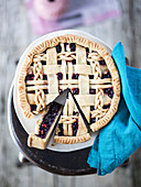 Blueberry pie with latticed pastry
