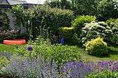 Hausgarten mit Planschbecken, blaues Staudenbeet