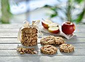 Vegan apple walnut cookies with oat flakes and apple chips