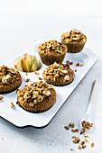 Apple hazelnut muffins sweetened with honey and tagatose
