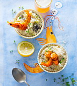 Risotto with poppy seeds and prawns