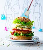 Veggie burger with taleggio