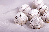Traditional Russian Christmas almond chocolate snowballs