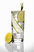 Cocktail im Glas mit Limetten und Gurke