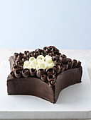 Chocolate star cake with curls