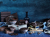 Chocolate still life with cocoa powder