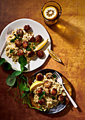Chicken, cumin and honey meatballs with orzo