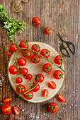 Freshly picked tomatoes and oregano