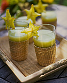 Fruit juice with star fruit slices