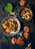 Dhal makhani with poori and cauliflower baked in saffron