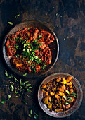 Indian pork curry with crispy spice potatoes