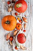 Pumpkins, shallots, garlic and tomatoes