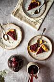 Three pieces of plum tarts