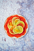 Fruit carpaccio with citrus fruits