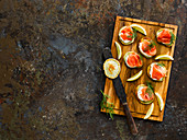 Traditional smoked salmon with dill blini