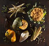 Stilleben mit gelbem Gemüse