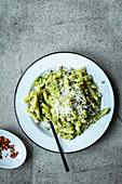 Pasta with broccoli pesto and chili