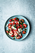 Strawberry caprese salad with mozzarella