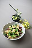 Nudeln mit Broccoli, Oliven, Tomaten und Orangenblütenwasser