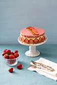 Fraisier maison (sponge cake with vanilla cream and strawberries, France)