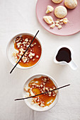 Panna cotta all'amaretto (panna cotta with caramel and amaretto crumbs, Italy)