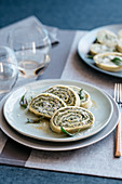 Rotolo di pasta all'emiliana (pasta roll with a spinach and ricotta filling, Italy)