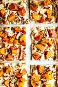 Quick puff pastry pizza with pumpkin, feta cheese and chilli honey