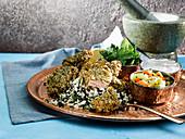 Stuffed Lamb Cutlets With Dukka Labneh Cauliflower Tabbouleh
