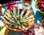 Shrimp and avocado rillette with vegetables crudités