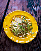 Beansprout salad with goose liver