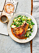 Pork chop with paprika butter and new potato crush