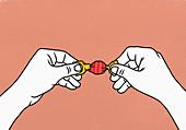 Hände öffnen eingewickelte Süßigkeit (Illustration)
