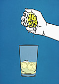 Hand squeezing fresh lime into glass with ice (Illustration)
